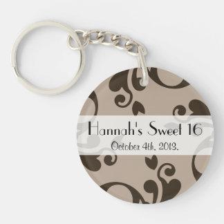 Sweet 16 - Damask, Ornaments, Swirls - Brown Acrylic Key Chains