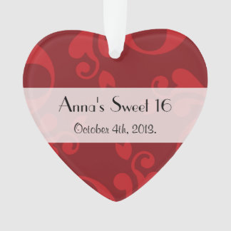 Sweet 16 - Damask, Ornaments, Swirls - Red