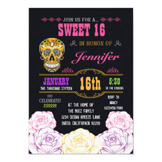 Sweet 16 Day of the Dead Sugar Skull Invitation