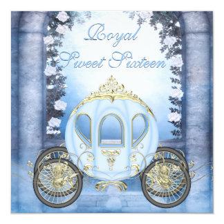 """Sweet 16 de princesa Carriage Enchanted azul Invitación 5.25"""" X 5.25"""""""