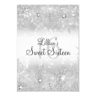 Sweet 16 Diamond Snowflake Winter Wonderland 5x7 Paper Invitation Card