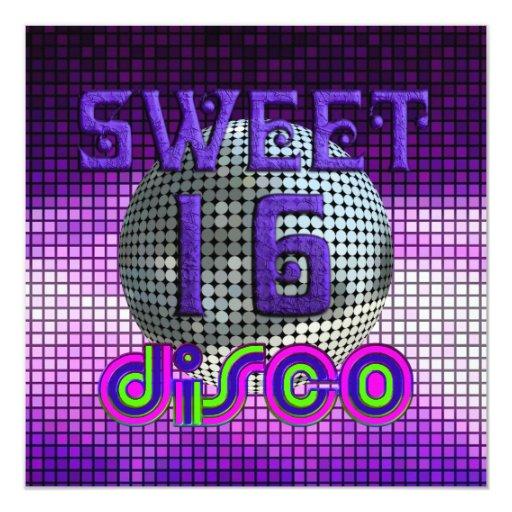 "Sweet 16 Disco Multi Color Birthday Party 5.25"" Square Invitation Card"