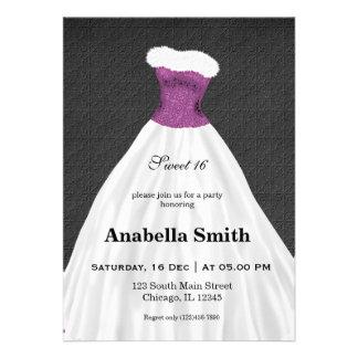 Sweet 16 dress custom invite