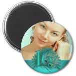 Sweet 16 elegant peacock feather template 2 inch round magnet