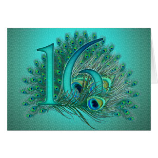 Sweet 16 elegant peacock feather template cards