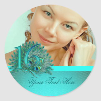 Sweet 16 elegant peacock feather template classic round sticker
