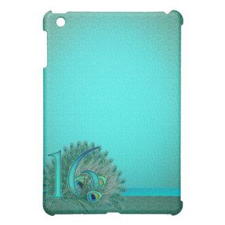 Sweet 16 elegant peacock feather template iPad mini cover
