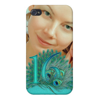Sweet 16 elegant peacock feather template iPhone 4/4S case