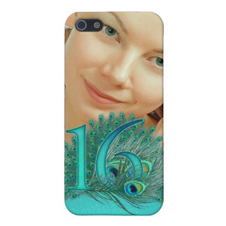 Sweet 16 elegant peacock feather template iPhone SE/5/5s cover