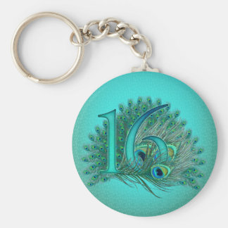 Sweet 16 elegant peacock feather template keychain