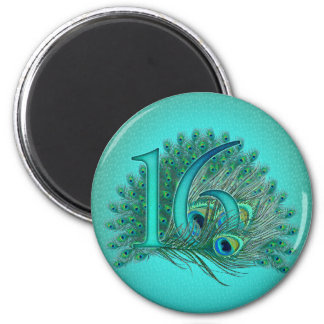 Sweet 16 elegant peacock feather template magnet