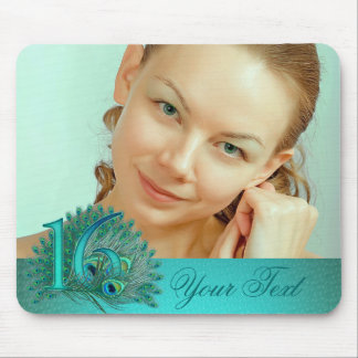 Sweet 16 elegant peacock feather template mouse pad