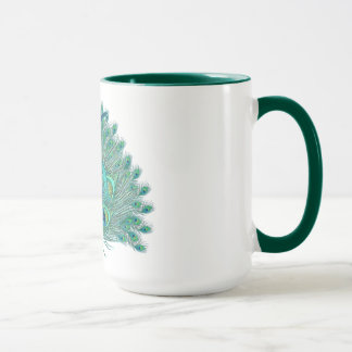 Sweet 16 elegant peacock feather template mug