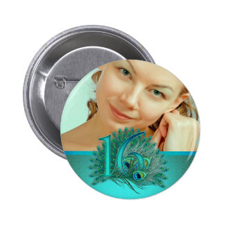 Sweet 16 elegant peacock feather template pinback button