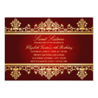 Sweet 16   Elegant Red & Gold Damask Invitation