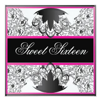 Sweet 16 Elegant Ribbon Bl/Wht Fuschia Invitation
