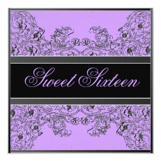"Sweet 16 Elegant Ribbon Black Purple Invitation 5.25"" Square Invitation Card"