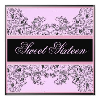 "Sweet 16 Elegant Ribbon Black/Soft Pink Invitation 5.25"" Square Invitation Card"