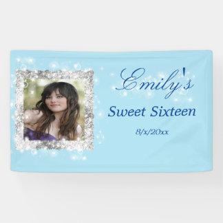 Sweet 16, Faux Glitter, Sparkle, Custom Banner