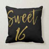 Sweet 16 Faux Gold and Black Foil Pillow