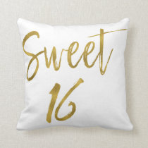 Sweet 16 Faux Gold Foil Pillow