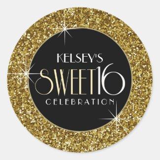 Sweet 16 Faux Gold Glitter Envelope Seal