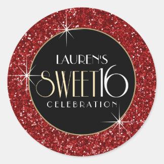 Sweet 16 Faux Red Glitter Envelope Seal