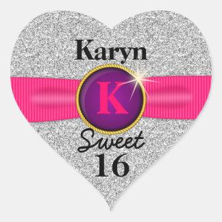 Sweet 16 Faux Ribbon Jewel Silver Glitter Heart Heart Sticker