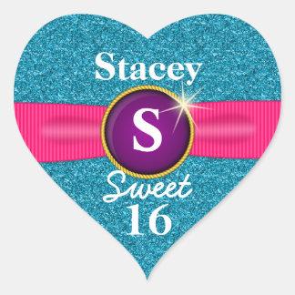 Sweet 16 Faux Ribbon Jewel Turquoise Glitter Heart Sticker