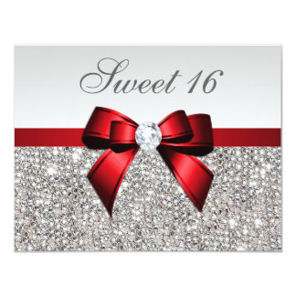 Sweet 16 Faux Silver Sequins Diamonds Red Bow Card