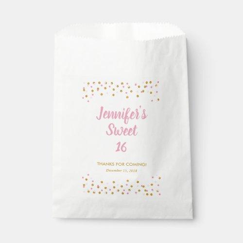 Sweet 16 Favor Bag Pink Gold Glitter Confetti