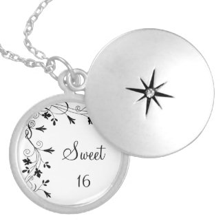 Sweet 16 Feminine Girly Swirl Vintage Floral Vine Silver Plated Necklace