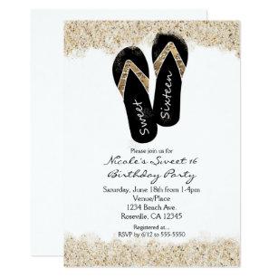 3b0b0995abdca8 Sweet 16 Flip Flops Sandy Beach Party Invitations