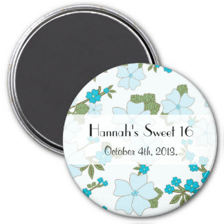 Sweet 16 - Flowers, Leaves, Blossoms - Blue 3 Inch Round Magnet