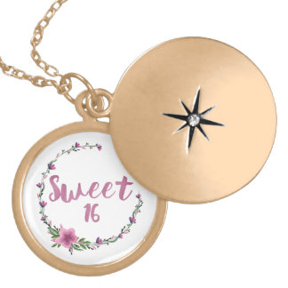 Sweet 16 Flowers Locket Necklace