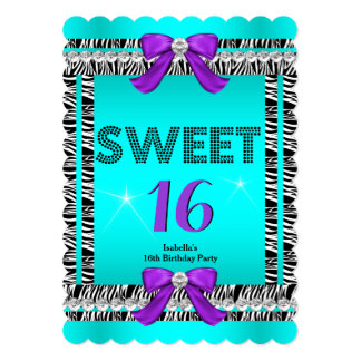 Sweet 16 Fun Party Zebra Teal Blue Purple Bow 6S 5x7 Paper Invitation Card