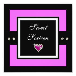 "Sweet 16 girls birthday 5.25"" square invitation card"