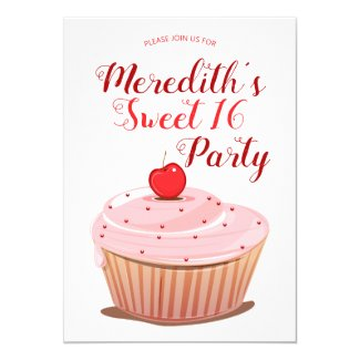 Sweet 16 Girly Pink Frosted Cupcake Birthday Invitation
