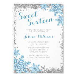Sweet 16 Glam Winter Wonderland Silver Blue Card