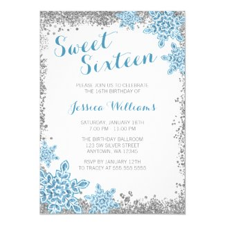 Sweet 16 Glam Winter Wonderland Silver Blue Invitation