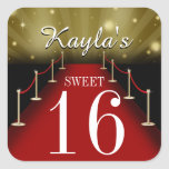 Sweet 16 Glamorous Red Carpet Party Favor Stickers Square Sticker