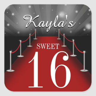 Sweet 16 Glamorous Red Carpet Party Favor Stickers