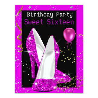 Sweet 16 Glitter Hot Pink Black Birthday Party Card
