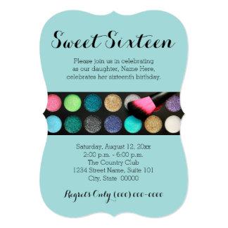 Sweet 16 Glitter Makeup Invitations