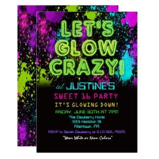 Sweet 16 Glow Party Birthday Invitation