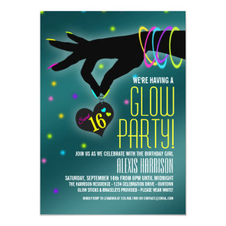 Sweet 16 Glow Party Invitations