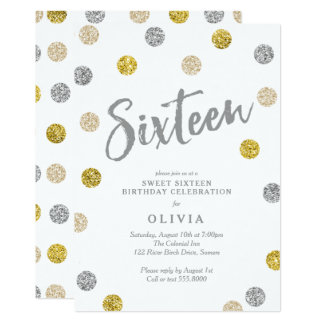 Sweet 16 Gold and Silver Glitter Party Invitation