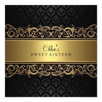 Sweet 16   Gold & Black Damask Invitation
