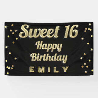 Sweet 16 Gold Bling Typography Confetti Black Banner