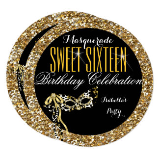Sweet 16 Gold Glitter Mask Masquerade Birthday Card